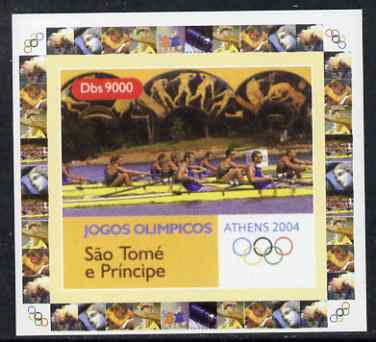 St Thomas & Prince Islands 2004 Athens Olympic Games #1 - Rowing individual imperf deluxe sheet unmounted mint. Note this item is privately produced and is offered purely on its thematic appeal