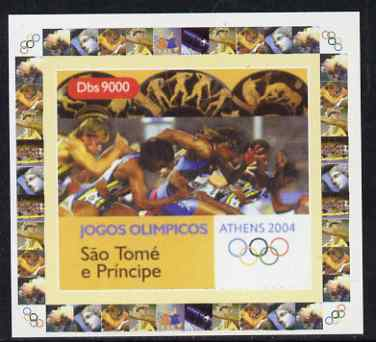 St Thomas & Prince Islands 2004 Athens Olympic Games #2 - Running individual imperf deluxe sheet unmounted mint. Note this item is privately produced and is offered purely on its thematic appeal