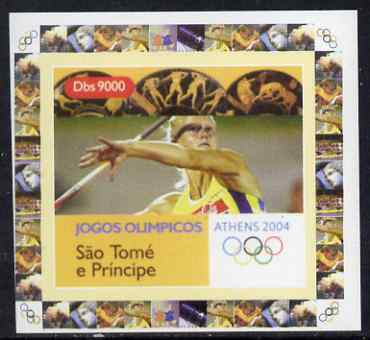 St Thomas & Prince Islands 2004 Athens Olympic Games #3 - Javelin individual imperf deluxe sheet unmounted mint. Note this item is privately produced and is offered purely on its thematic appeal