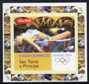 St Thomas & Prince Islands 2004 Athens Olympic Games #4 - High Jump individual imperf deluxe sheet unmounted mint. Note this item is privately produced and is offered purely on its thematic appeal