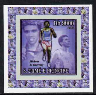 St Thomas & Prince Islands 2006 Olympic Gold Medalists #4 - Hicham El Guerrouj (Running) individual imperf deluxe sheet unmounted mint. Note this item is privately produced and is offered purely on its thematic appeal