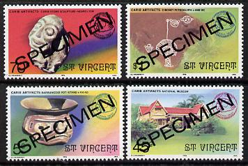 St Vincent 1976 National Trust set of 4 (Artefacts, etc) opt'd Specimen unmounted mint, as SG 498-501*