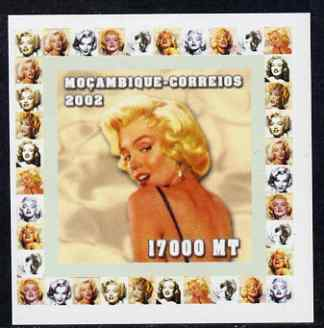 Mozambique 2002 40th Anniversary of Death of Marilyn Monroe #5 individual imperf deluxe sheet unmounted mint. Note this item is privately produced and is offered purely on its thematic appeal as Yv 1946