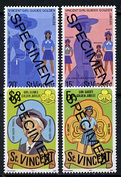 St Vincent 1977 Girl Guides set of 4 (the $2 with opt dates omitted) opt'd Specimen unmounted mint, as SG 536-39 (gutter pairs pro rata)