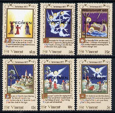 St Vincent 1977 Christmas set of 6 opt'd Specimen, as SG 544-49  unmounted mint