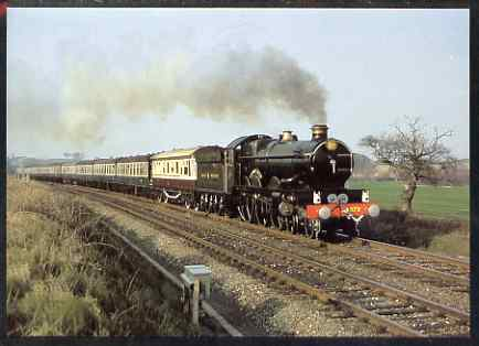 Postcard produced in 1980's in full colour showing GWR 1904 rebuilt Castle Class 4-6-0 Pendennis Castle, unused and pristine