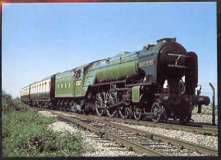Postcard produced in 1980's in full colour showing LNER Peppercorn A2/3 Class 4-6-2 Blue Peter, unused and pristine