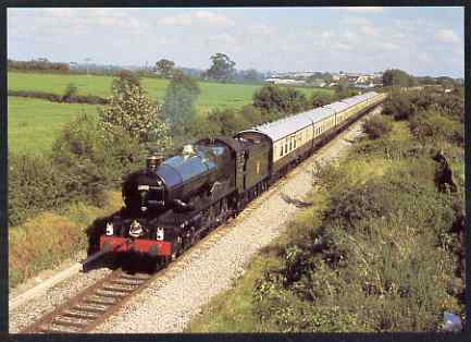 Postcard produced in 1980's in full colour showing GWR Collet King Class 4-6-0 Prototype King George V, unused and pristine