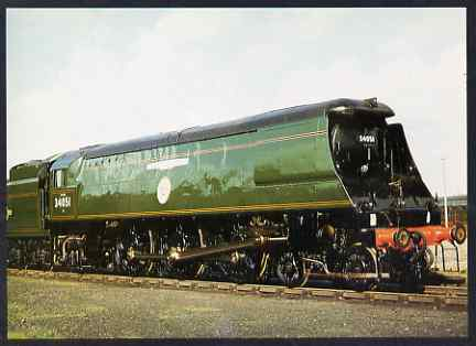 Postcard produced in 1980's in full colour showing Southern Railway Bulleid unrebuilt West Country/Battle of Britain Class 4-6-2 Winston Churchill, unused and pristine