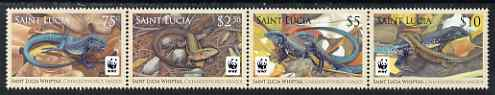 St Lucia 2008 WWF - Whiptail Lizard se-tenant strip of 4 unmounted mint