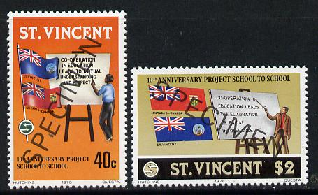 St Vincent 1978 School Twinning set of 2 opt'd Specimen unmounted mint, as SG 564-65  , stamps on education      flags