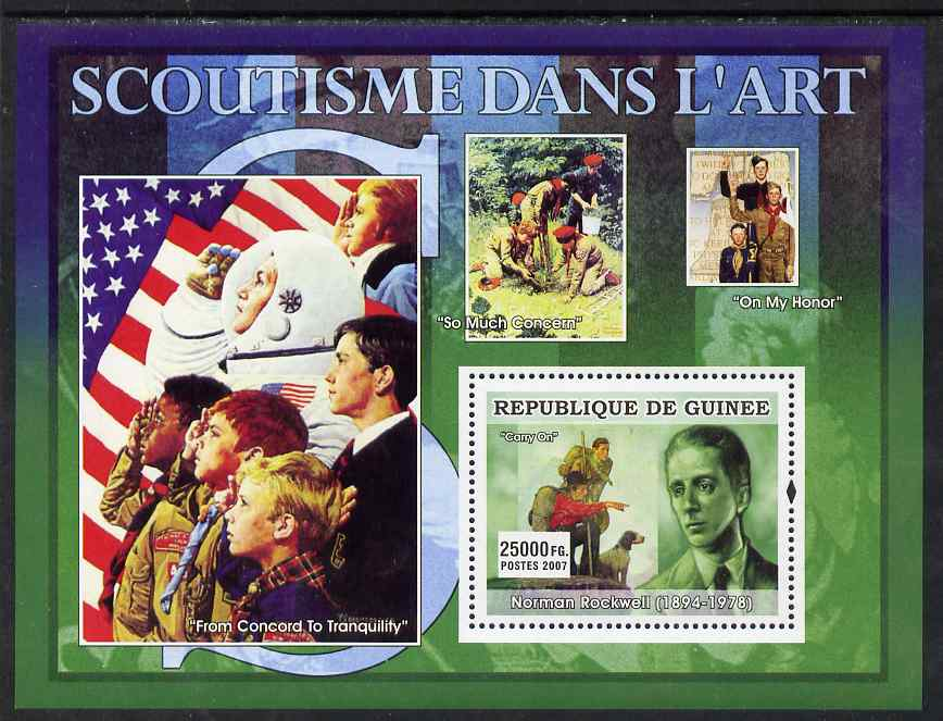 Guinea - Conakry 2007 Scouting in Art (Rockwell & Carry On) perf souvenir sheet unmounted mint