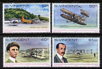 St Vincent 1978 75th Anniversary of First Flight perf set of 4 opt'd Specimen unmounted mint, as SG 566-69