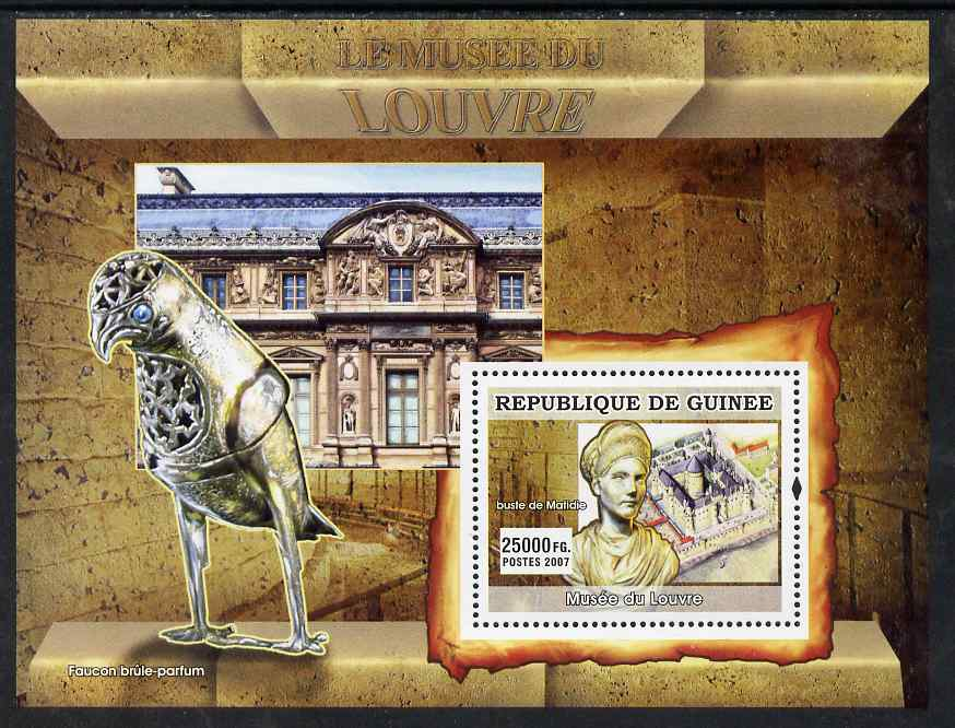 Guinea - Conakry 2007 The Louvre Museum (Bust & Falcon) perf souvenir sheet unmounted mint