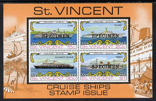 St Vincent 1974 Cruise Ships m/sheet opt'd Specimen unmounted mint, as SG MS 391