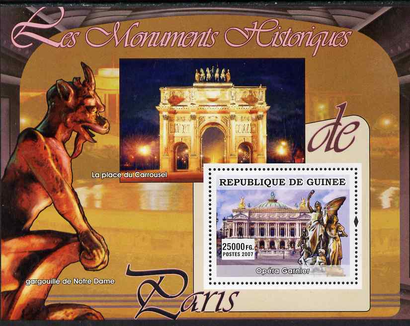 Guinea - Conakry 2007 Monuments of Paris (Opera Garnier) perf souvenir sheet unmounted mint