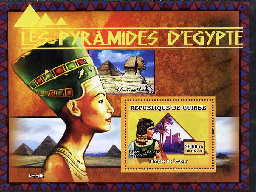 Guinea - Conakry 2007 Pyramids of Egypt (Elizabeth Taylor, Cleopatra & Temple at Luxor) perf souvenir sheet unmounted mint