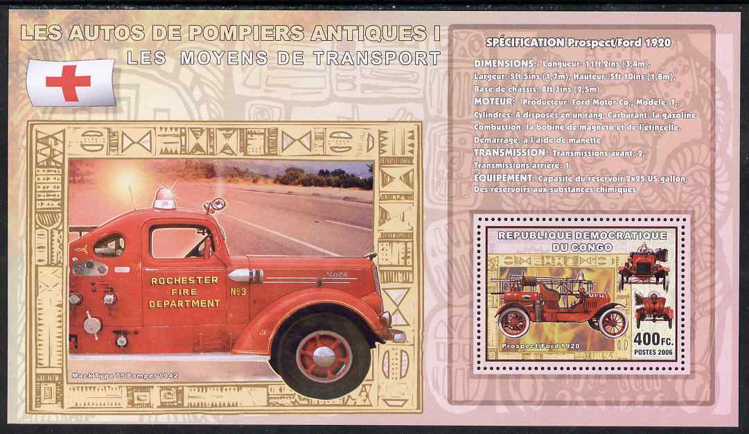 Congo 2006 Transport - Early Fire Engines (Prospect-Ford & Mack 75) perf souvenir sheet unmounted mint