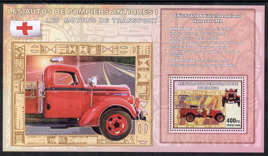 Congo 2006 Transport - Early Fire Engines (Bickle) perf souvenir sheet unmounted mint
