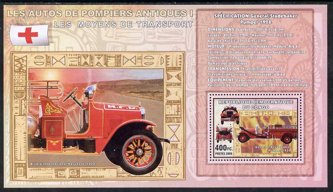 Congo 2006 Transport - Early Fire Engines (General-Sudebaker & Bickle) perf souvenir sheet unmounted mint, stamps on transport, stamps on fire