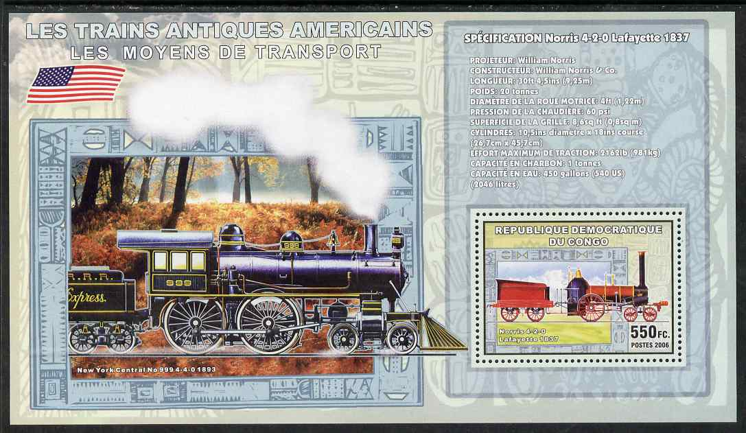 Congo 2006 Transport - American Steam Locos (Norris 4-2-0 & New York Central 4-4-0) perf souvenir sheet unmounted mint
