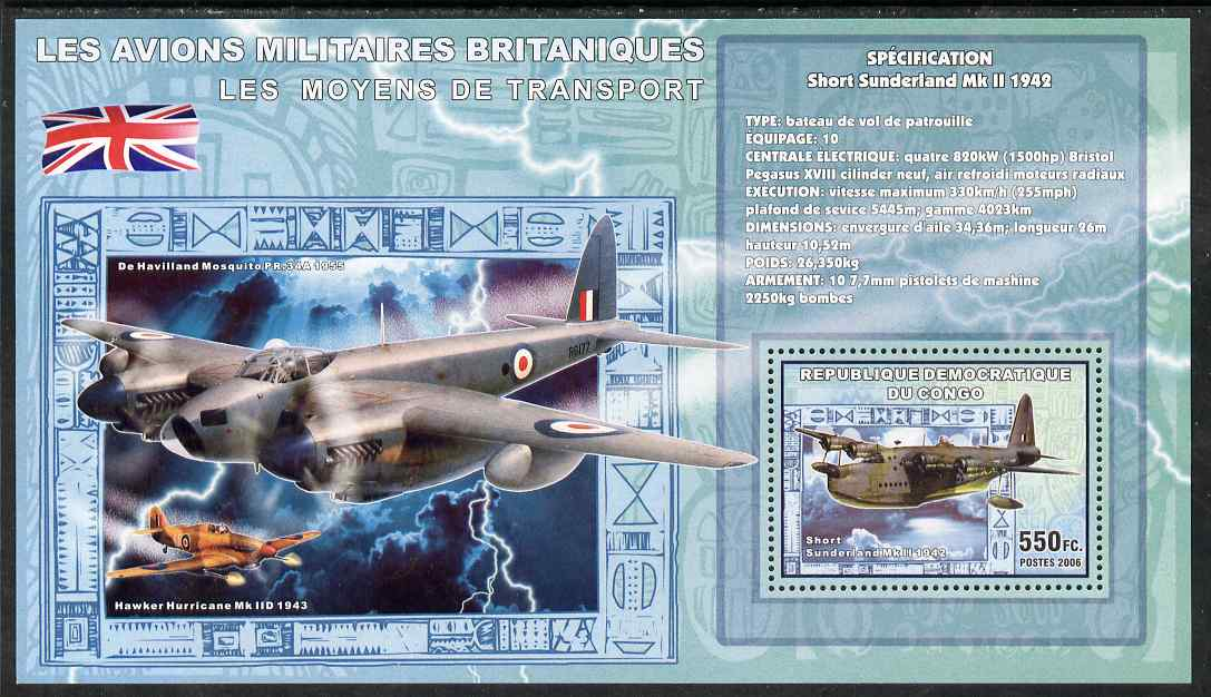 Congo 2006 Transport - British Military Aircraft (Short Sunderland, Hurricane & Mosquito) perf souvenir sheet unmounted mint