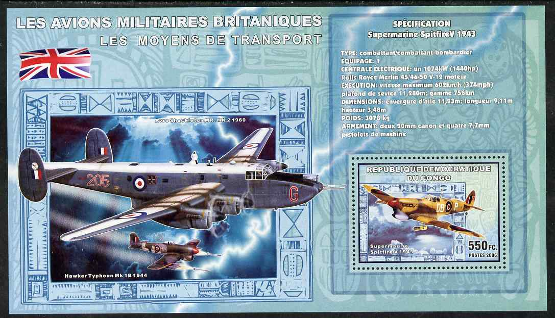 Congo 2006 Transport - British Military Aircraft (Spitfire, Typhoon & Shackleton) perf souvenir sheet unmounted mint