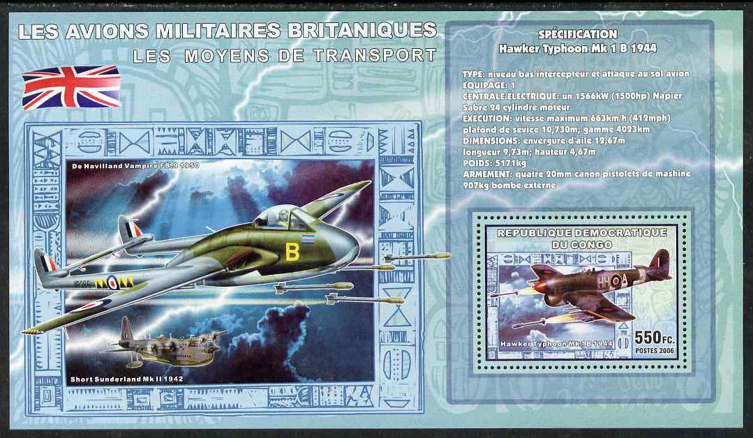 Congo 2006 Transport - British Military Aircraft (Typhoon, Sunderland & Vampire) perf souvenir sheet unmounted mint