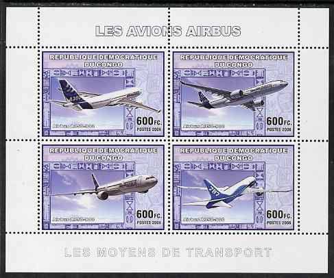 Congo 2006 Transport - Airbus A-350 perf sheetlet containing 4 values unmounted mint