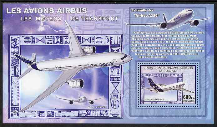 Congo 2006 Transport - Airbus A-350 perf souvenir sheet unmounted mint