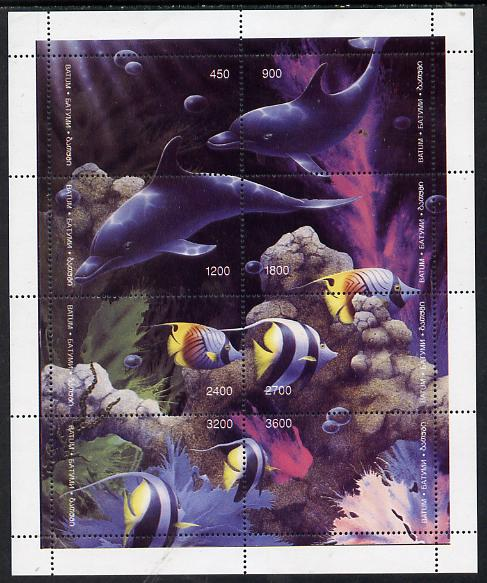 Batum 1995 Marine Life composite perf sheet containing complete set of 8 (Dolphins, Fish, Coral) unmounted mint