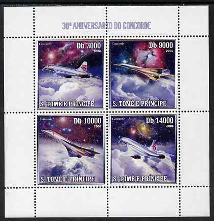 St Thomas & Prince Islands 2006 30th Anniversary of Concorde perf sheetlet containing 4 values unmounted mint, Mi 2724-27
