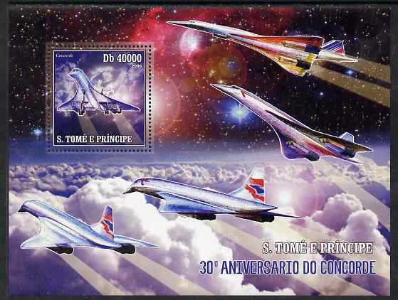 St Thomas & Prince Islands 2006 30th Anniversary of Concorde perf souvenir sheet unmounted mint, Mi BL 533