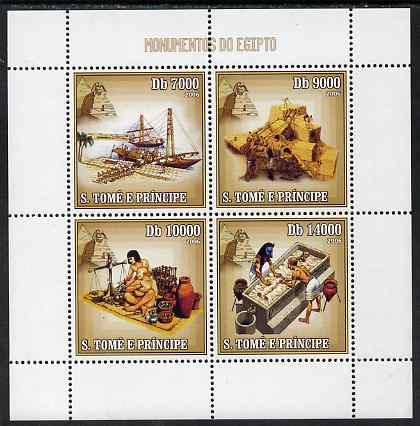 St Thomas & Prince Islands 2006 Monuments of Egypt perf sheetlet containing 4 values unmounted mint, Mi 2704-07