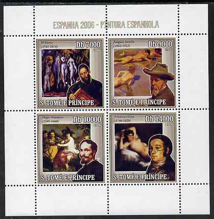 St Thomas & Prince Islands 2006 Spanish Painters perf sheetlet containing 4 values unmounted mint, Mi 2709-12