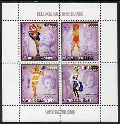 St Thomas & Prince Islands 2006 Washington 2006 Stamp Exhibition - Marilyn Monroe perf sheetlet containing 4 values unmounted mint, Mi 2719-22
