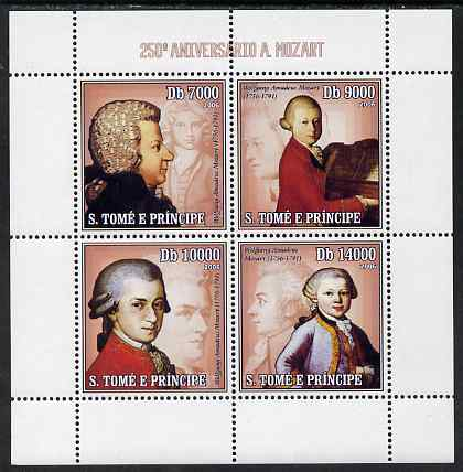 St Thomas & Prince Islands 2006 250th Anniversary of Mozart perf sheetlet containing 4 values unmounted mint, Mi 2714-17