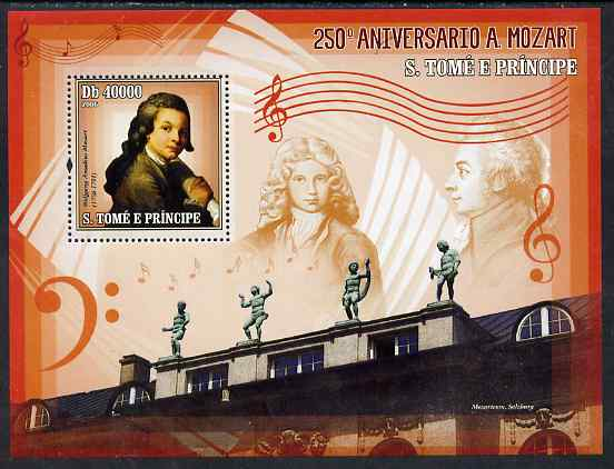 St Thomas & Prince Islands 2006 250th Anniversary of Mozart perf souvenir sheet unmounted mint, Mi BL 531