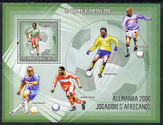 St Thomas & Prince Islands 2006 Football World Cup - African Players perf souvenir sheet unmounted mint, Mi BL 536