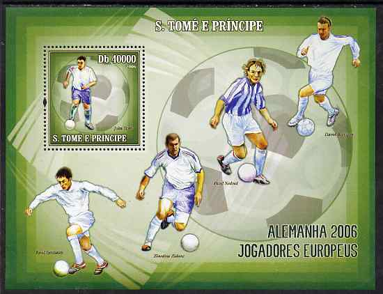 St Thomas & Prince Islands 2006 Football World Cup - European Players perf souvenir sheet unmounted mint, Mi BL 537