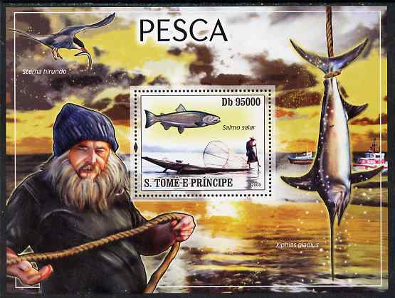 St Thomas & Prince Islands 2008 Fishing perf souvenir sheet unmounted mint