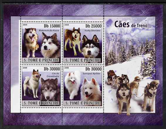 St Thomas & Prince Islands 2008 Sledge Dogs perf sheetlet containing 4 values unmounted mint