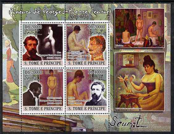 St Thomas & Prince Islands 2008 Paintings by Georges Seurat perf sheetlet containing 4 values unmounted mint