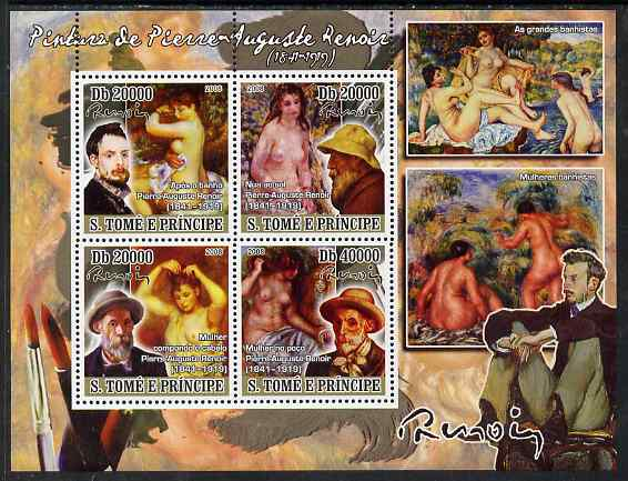 St Thomas & Prince Islands 2008 Paintings by Pierre Auguste Renoir perf sheetlet containing 4 values unmounted mint