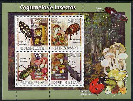 Guinea - Bissau 2008 Mushrooms & Insects perf sheetlet containing 4 values unmounted mint