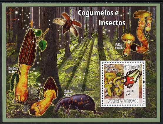 Guinea - Bissau 2008 Mushrooms & Insects perf souvenir sheet unmounted mint