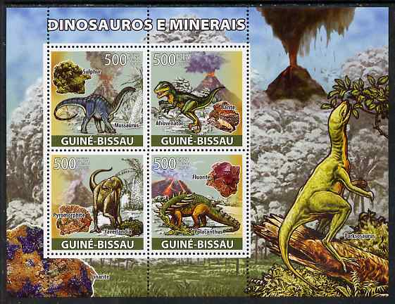 Guinea - Bissau 2008 Dinosaurs & Minerals perf sheetlet containing 4 values unmounted mint