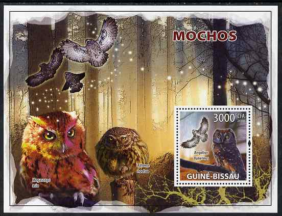 Guinea - Bissau 2008 Owls perf souvenir sheet unmounted mint, stamps on birds, stamps on birds of prey, stamps on owls