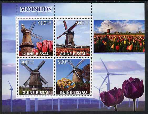 Guinea - Bissau 2008 Windmills & Tulips perf sheetlet containing 4 values unmounted mint