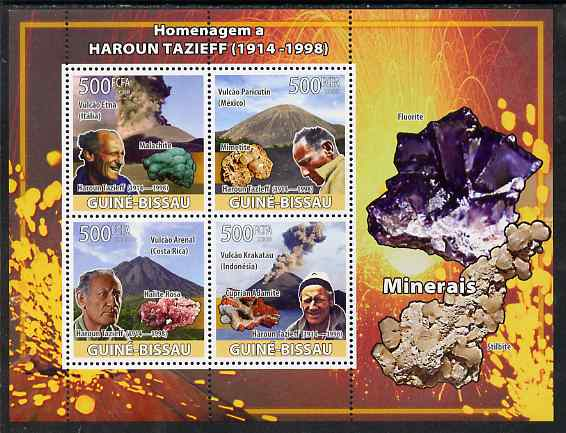 Guinea - Bissau 2008 Haroun Tazieff - Volcanoes & Minerals perf sheetlet containing 4 values unmounted mint